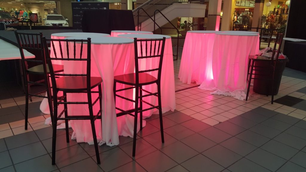 Lighted Cocktail Tables with Chiavari Barstools