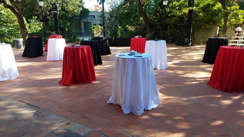 Cocktail Tables with Colored Polyester Linens