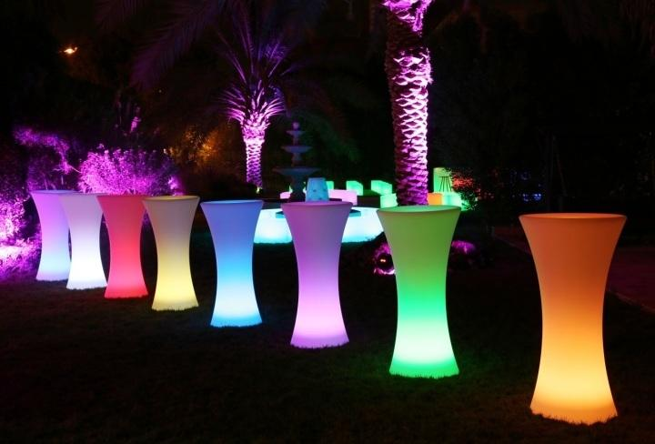 LED Hourglass Cocktail Table