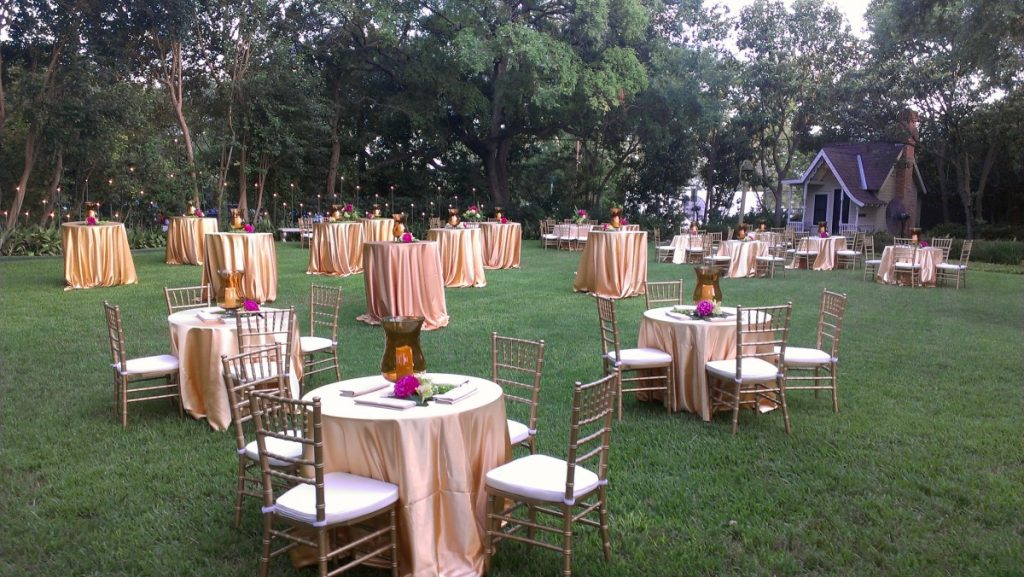 Cocktail Tables & Bistro Tables with Gold Chiavari Chairs