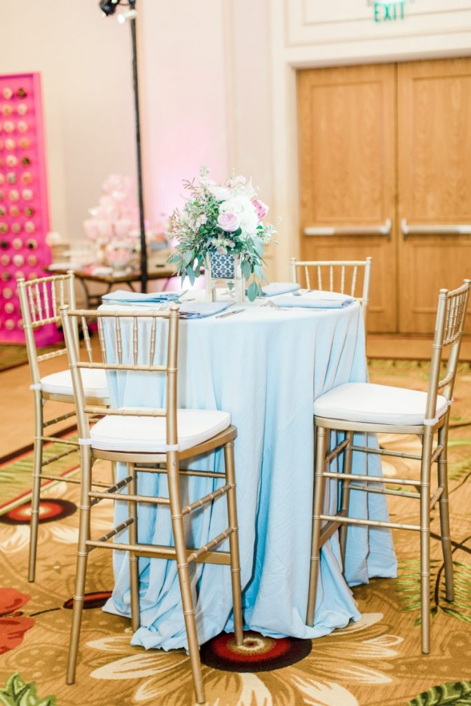 Cocktail Table with Gold Chiavari Chairs