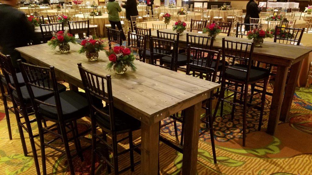 Farm Communal Tables with Mahogany Chiavari Chairs
