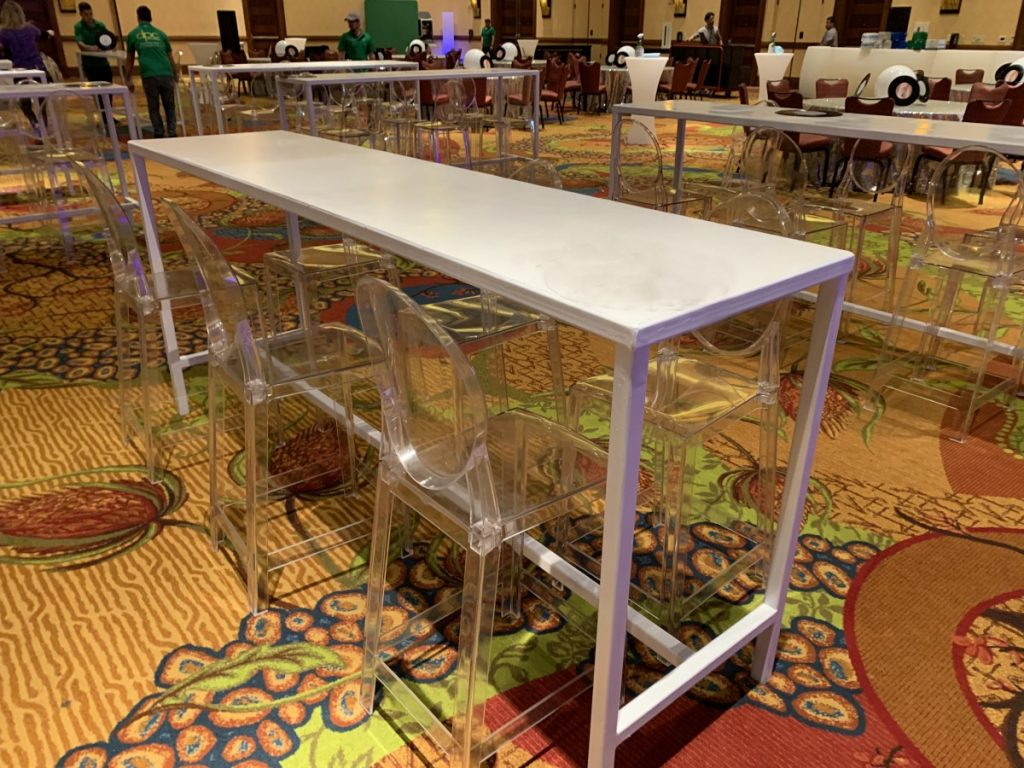 White Metal Communal Tables with Ghost Barstools