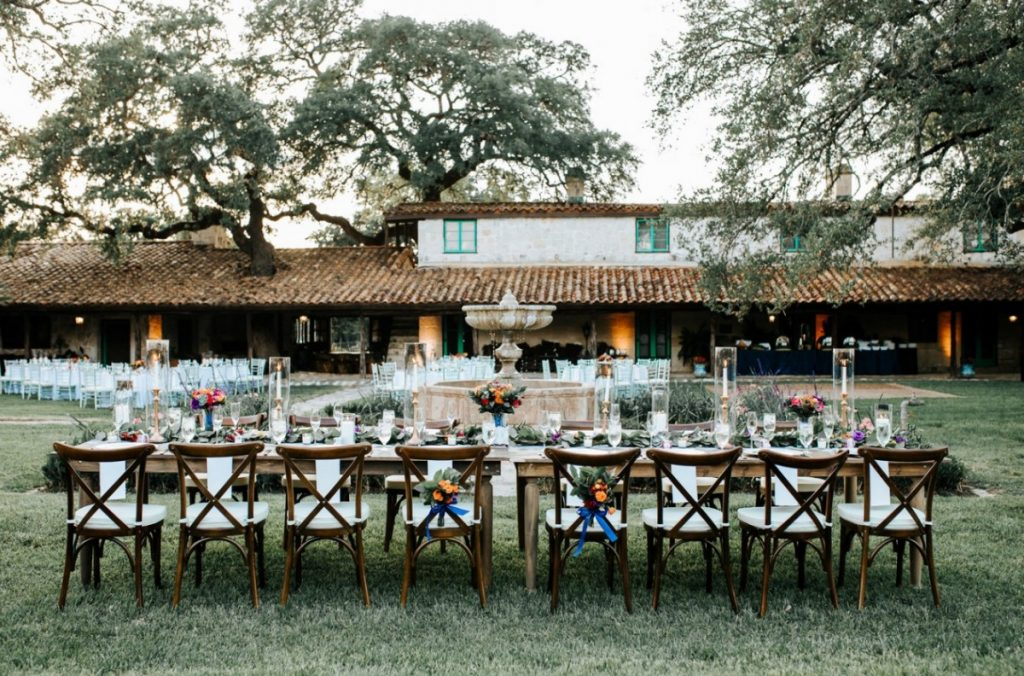 Rustic Farm Tables with Crossback Chairs