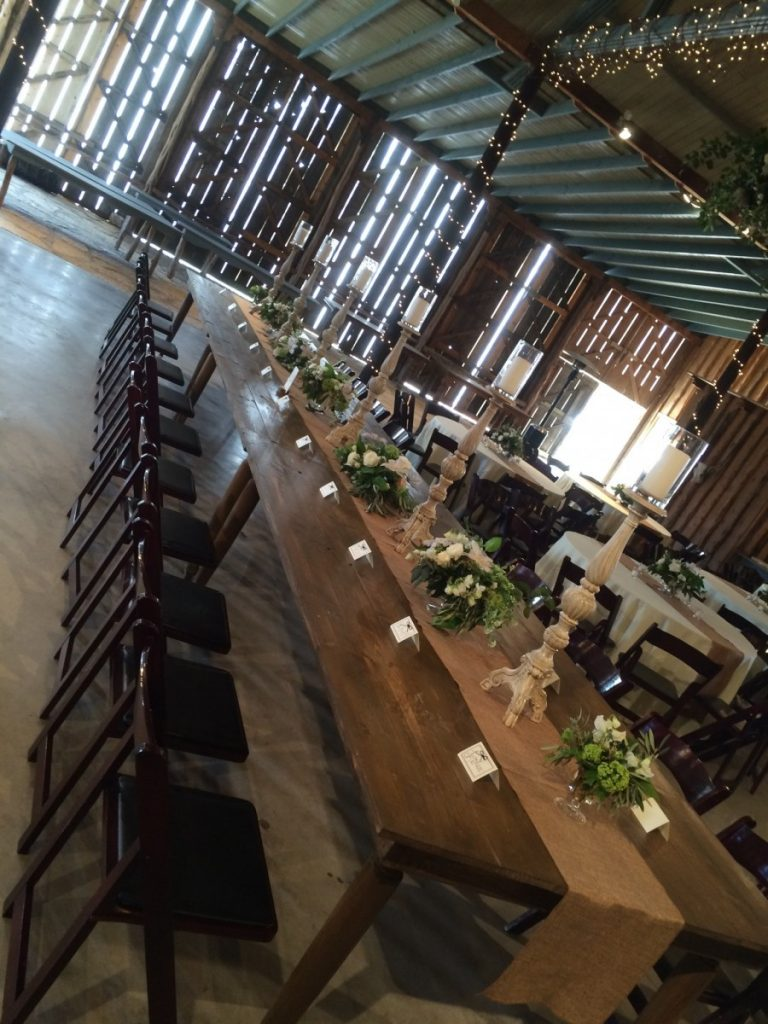 Farm Tables with Mahogany Folding Chairs